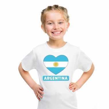 T shirt wit argentinie vlag hart wit kind