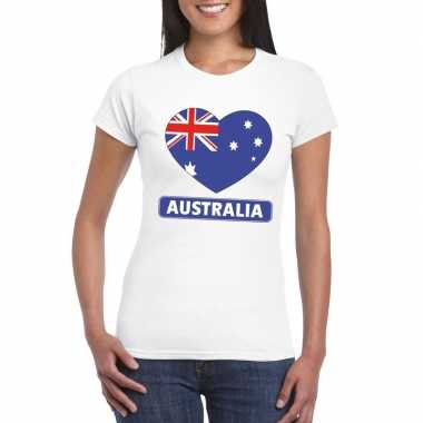 T shirt wit australie vlag hart wit dames