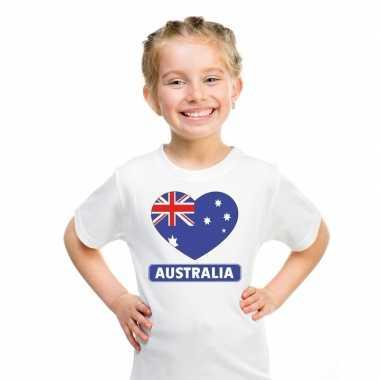 T shirt wit australie vlag hart wit kind