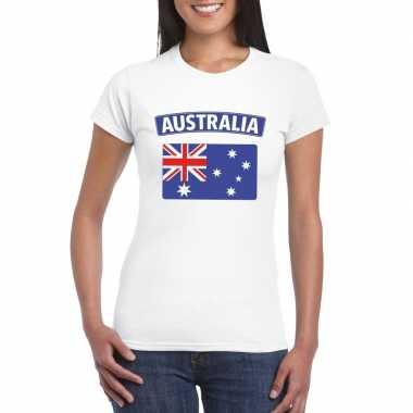 T shirt wit australie vlag wit dames