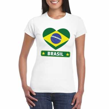 T shirt wit brazilie vlag hart wit dames