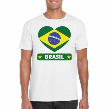 T shirt wit brazilie vlag hart wit heren