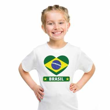 T shirt wit brazilie vlag hart wit kind