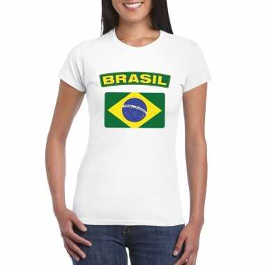 T shirt wit brazilie vlag wit dames