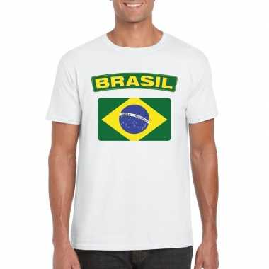 T shirt wit brazilie vlag wit heren