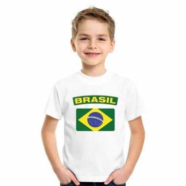 T shirt wit brazilie vlag wit jongens meisjes