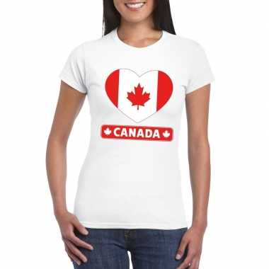 T shirt wit canada vlag hart wit dames