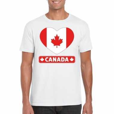 T shirt wit canada vlag hart wit heren