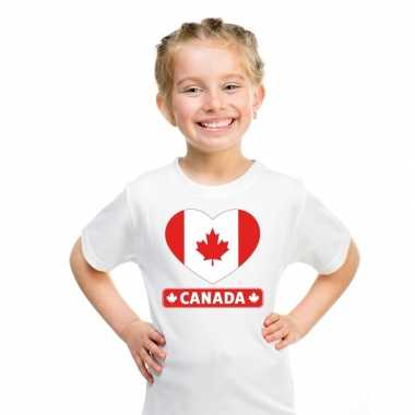 T shirt wit canada vlag hart wit kind