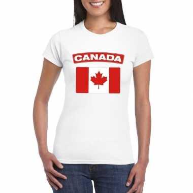 T shirt wit canada vlag wit dames