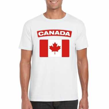 T shirt wit canada vlag wit heren