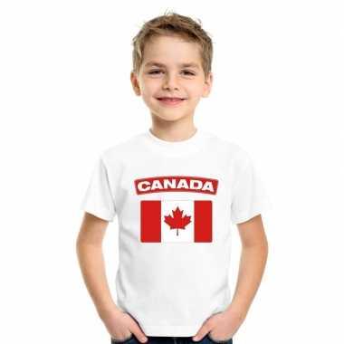 T shirt wit canada vlag wit jongens meisjes