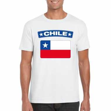 T shirt wit chili vlag wit heren