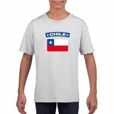 T shirt wit chili vlag wit jongens meisjes