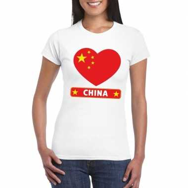 T shirt wit china vlag hart wit dames
