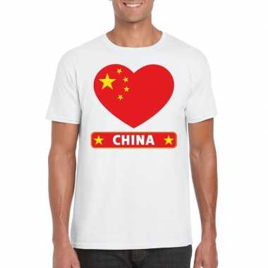 T shirt wit china vlag hart wit heren