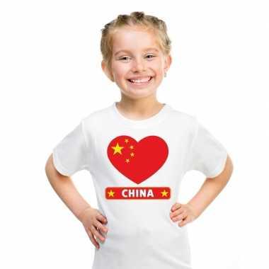 T shirt wit china vlag hart wit kind