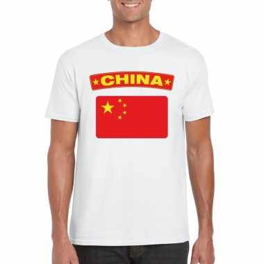 T shirt wit china vlag wit heren