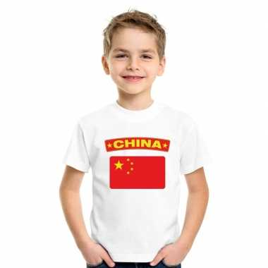 T shirt wit china vlag wit jongens meisjes