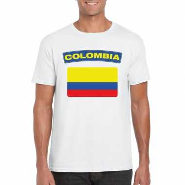 T shirt wit colombia vlag wit heren