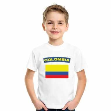 T shirt wit colombia vlag wit jongens meisjes