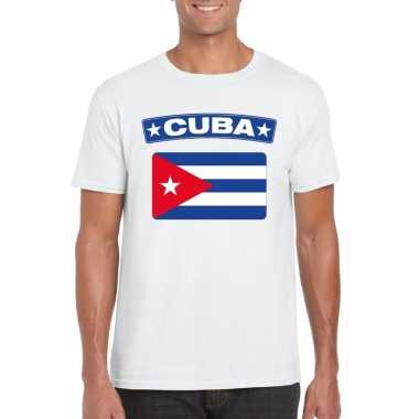 T shirt wit cuba vlag wit heren