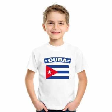 T shirt wit cuba vlag wit jongens meisjes