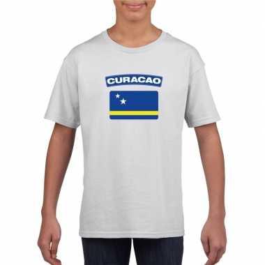 T shirt wit curacao vlag wit jongens meisjes