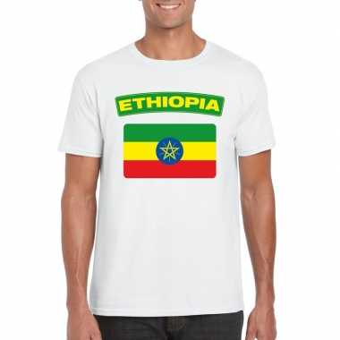 T shirt wit ethiopie vlag wit heren