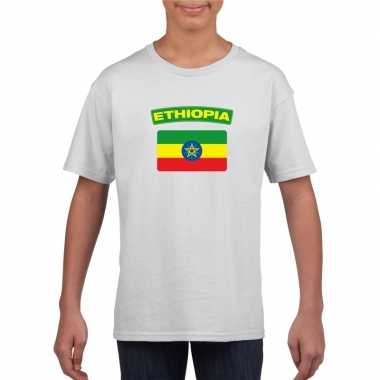 T shirt wit ethiopie vlag wit jongens meisjes