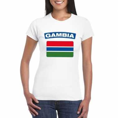 T shirt wit gambia vlag wit dames