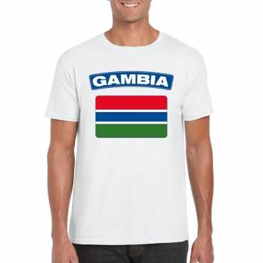T shirt wit gambia vlag wit heren