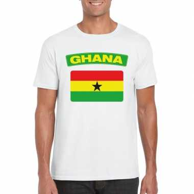 T shirt wit ghana vlag wit heren