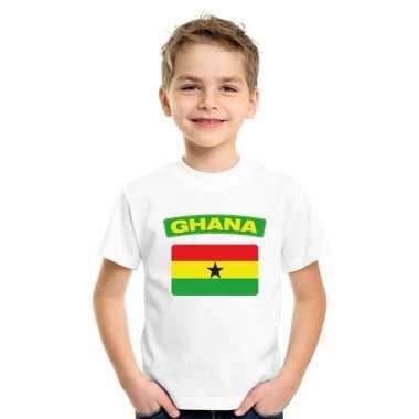 T shirt wit ghana vlag wit jongens meisjes