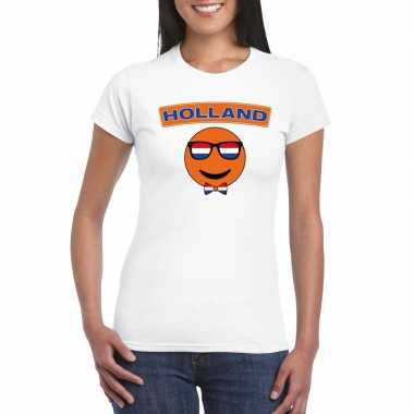 T shirt wit holland smiley wit dames