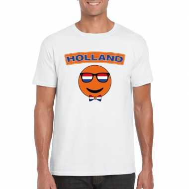 T shirt wit holland smiley wit heren