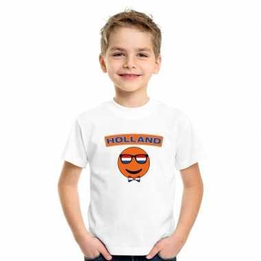 T shirt wit holland smiley wit kinderen