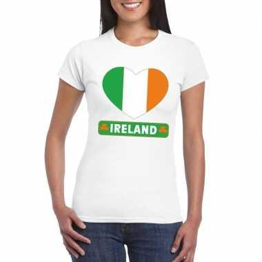 T shirt wit ierland vlag hart wit dames