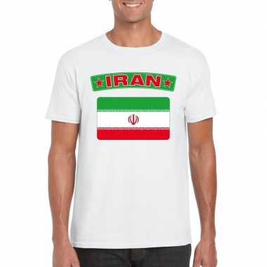 T shirt wit iran vlag wit heren
