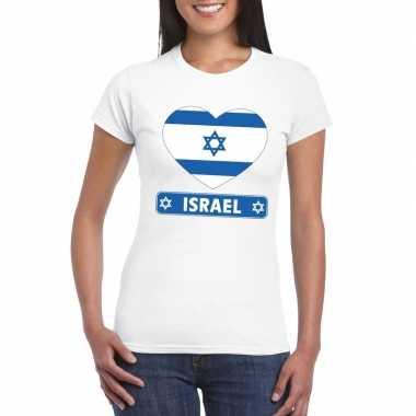 T shirt wit israel vlag hart wit dames