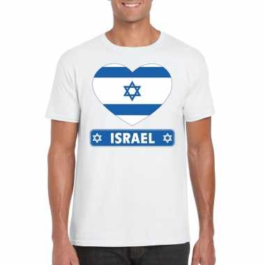 T shirt wit israel vlag hart wit heren