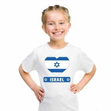 T shirt wit israel vlag hart wit kind