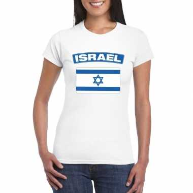T shirt wit israel vlag wit dames