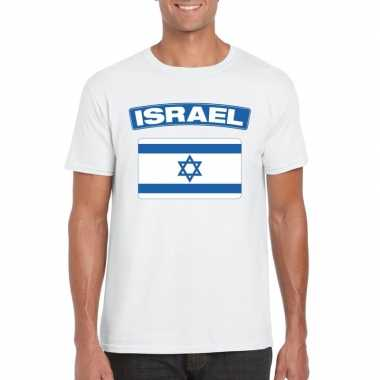 T shirt wit israel vlag wit heren