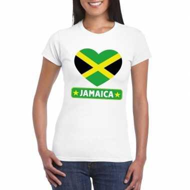 T shirt wit jamaica vlag hart wit dames