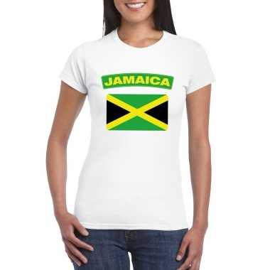 T shirt wit jamaica vlag wit dames