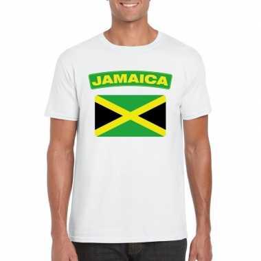 T shirt wit jamaica vlag wit heren