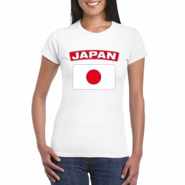 T shirt wit japan vlag wit dames