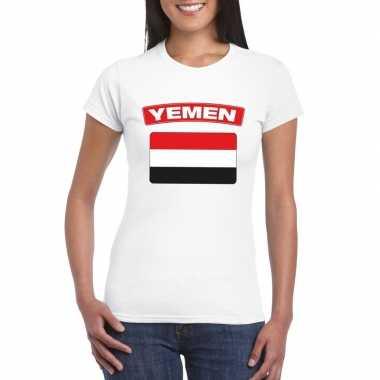 T shirt wit jemen vlag wit dames