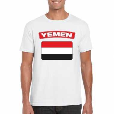 T shirt wit jemen vlag wit heren